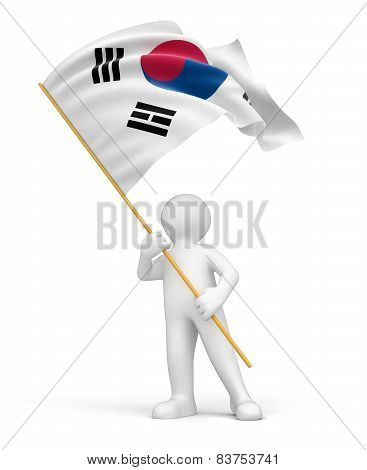 Man and South Korean flag (clipping path included)