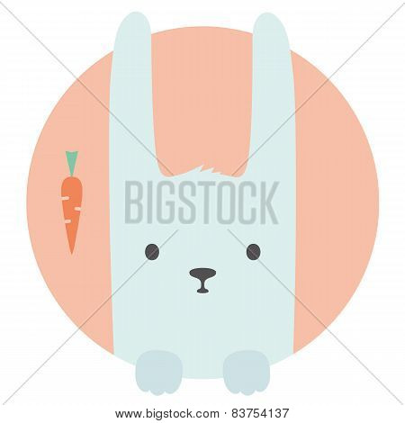 Animal set. Portrait in flat graphics - Hare -Rabbit-