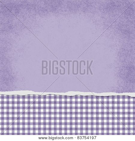 Square Purple And White Gingham Torn Grunge Textured Background