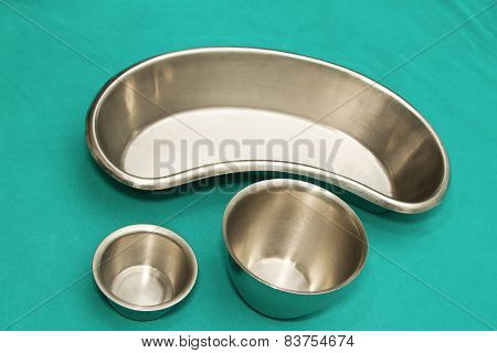 Set Of Surgical Instrument On Sterile Tray