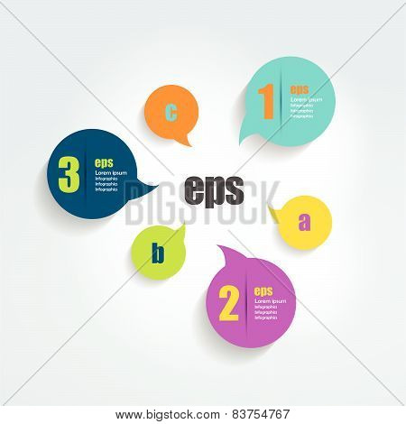 Circle number diagram, options, step by step template.