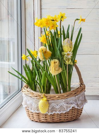 Basket With Daffodils Decorated Stickers Chickens And Eggs