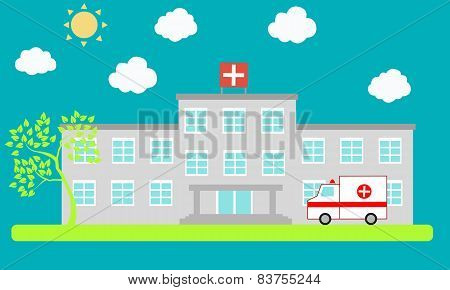 Building the hospital with ambulance. Vector illustration