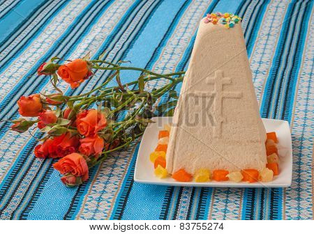 Traditional Curd Easter Cake On Embroidered Tablecloth