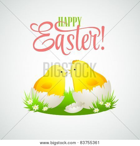 Easter card with chickens and eggs. Vector illustration