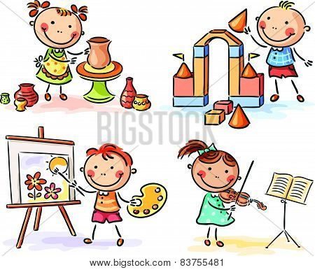 Kids in different creative activities