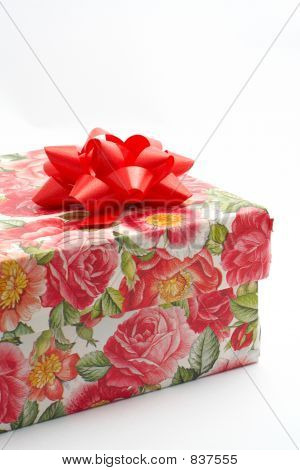Gift Box With Red Ribbon, Detail On White Background