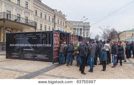 Kiev, February 21: In Kiev On St. Michael's Square Samples Of Military Equipment Of The Russian Army