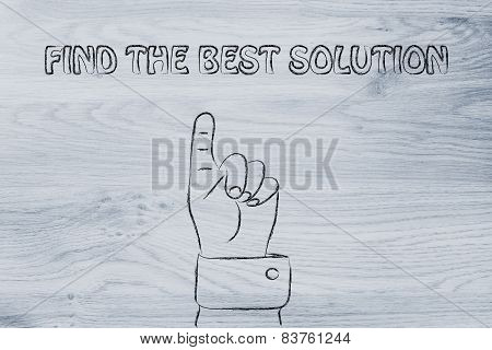 Hand Pointing At The Writing Find The Best Solution