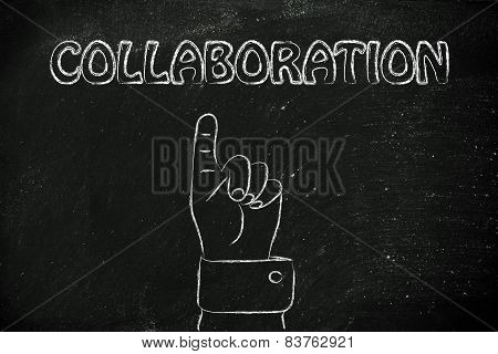 Hand Pointing At The Writing Collaboration