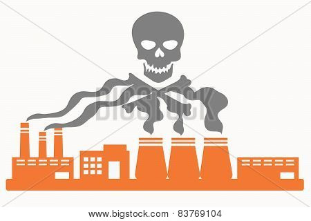Air pollution. Plant with smoke in the shape of the skull. Vector illustration