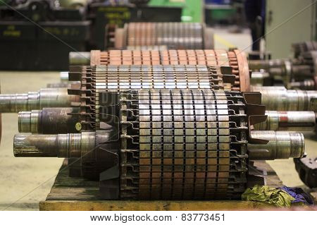 The electric motor rotor of stock.
