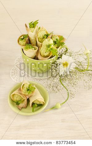 Savory Cannoli Stuffed With Ricotta, Peas And Parsley. Overhead View