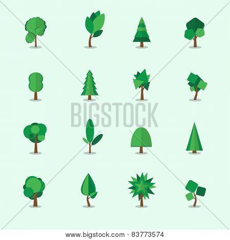 Tree icons set, vector illustration