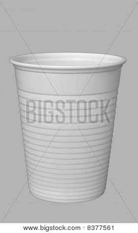 Plastic Cup Isolated on Grey