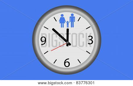 Time for the family. Clock with image child and the parents.