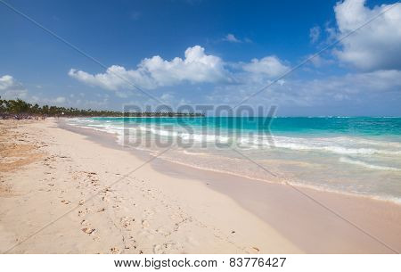 Empty Sandy Beach Landscape. Atlantic Ocean Coast