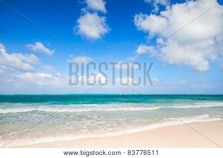 Empty Beach Coastal Landscape. Atlantic Ocean, Punta Cana