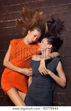 Beautiful Lesbian Flirting Couple In The Studio.