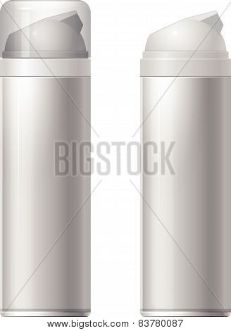Shaving gel foam. light gray. With lid and without Realistic vector illustration