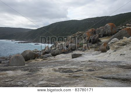 Large rocks in Blowholes sight in Torndirrup National Park near Albany
