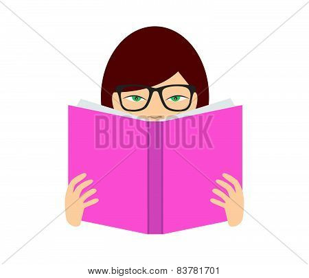 Girl reading a book. Flat vector. Isolated on white.