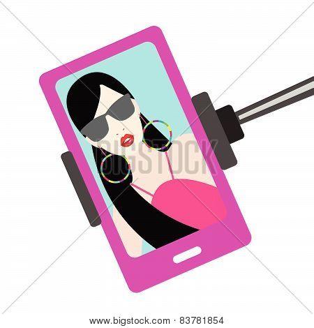 Woman selfie photo. Mobile picture. Selfie set.