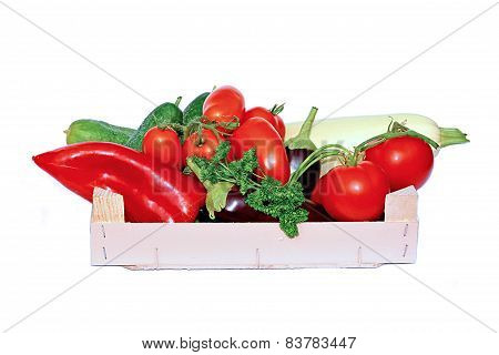 Vegetables in a wooden box