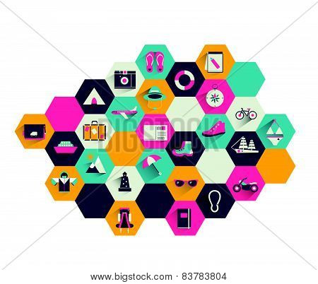 Collection of colorful flat icon. Set of holiday and traveling shapes.