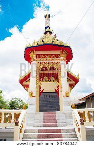 Crematory Or Pyre Against Blue Sky In Thai Temple