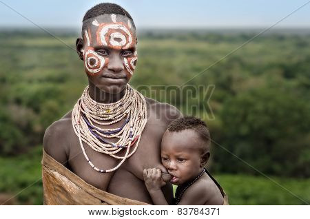 Portrait Of Unidentified Mother From Karo Tribe, Ethiopia