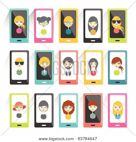 Set of avatars heads profile pictures flat icons. Vector stylized illustration.