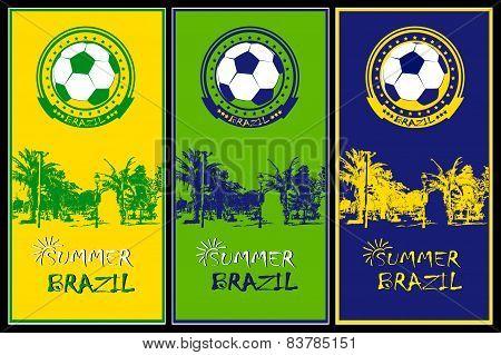 Set Of Brazilian Football Posters.