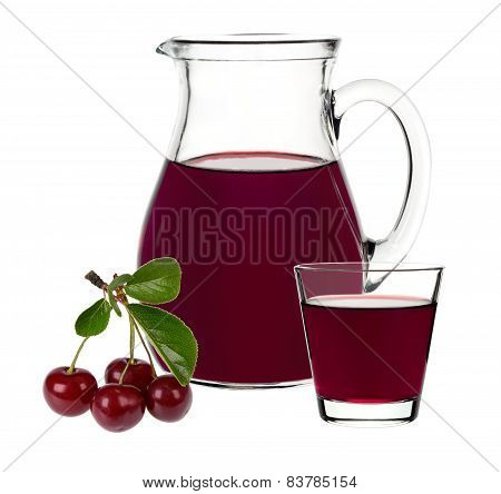 Cherry Juice In A Glass And Carafe