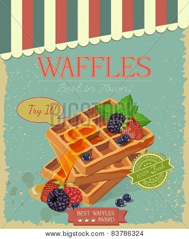 Vector waffles with syrup and strawberries. Breakfast.