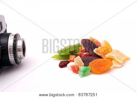 tropical dry fruits on white