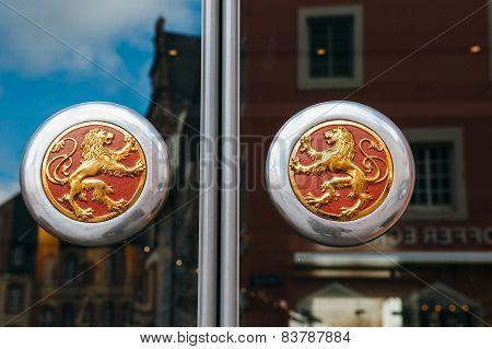 Vintage Door Knob With Golden Lions