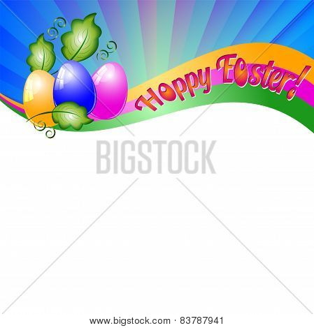 Background For Easter With Colored Eggs And Green Leaves