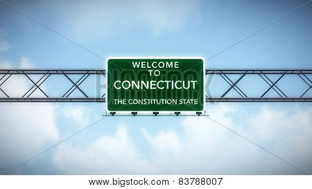 Connecticut USA State Welcome to Highway Road Sign