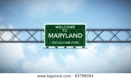 Maryland USA State Welcome to Highway Road Sign