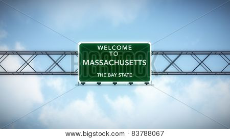 Massachusettes USA State Welcome to Highway Road Sign