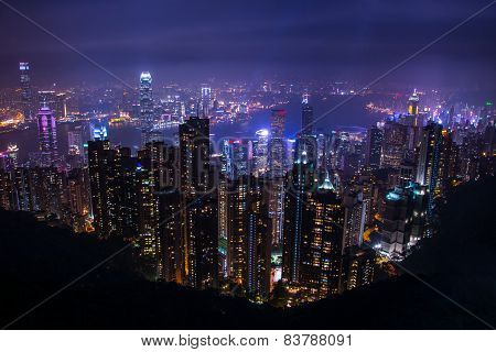 Hong Kong Skyline, View From Victoria Peak