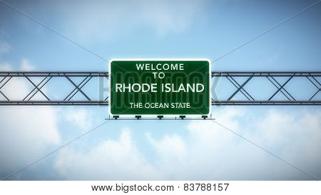 Rhode Island USA State Welcome to Highway Road Sign