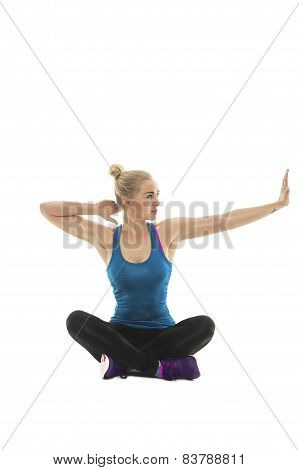 Young Woman Working Out Doing Stretching Exercises