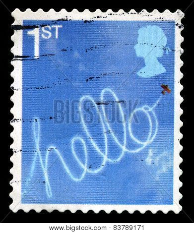 Hello Used British Postage Stamp