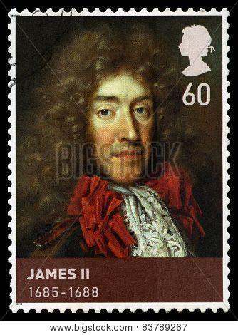 King James Ii Used Postage Stamp