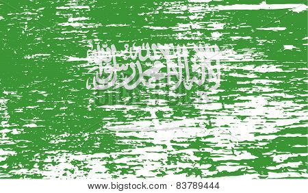 Flag Of Saudi Arabia With Old Texture. Vector