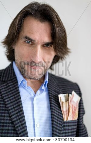 Russian man with money in  pocket of his jacket