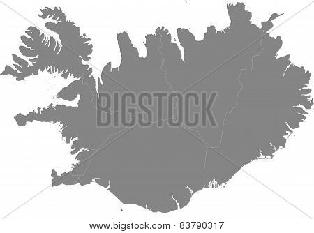 Iceland - map of the regions