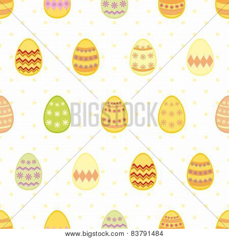 Tile vector pattern with easter eggs and yellow polka dots on white background